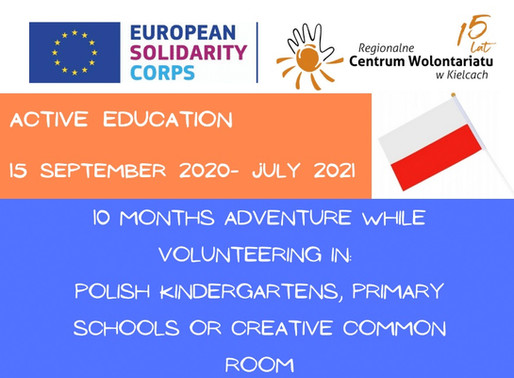 LONG-TERM VOLUNTEERING (ESC)│KIELCE, POLAND 🇵🇱│ACTIVE EDUCATION