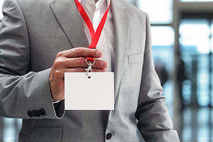 Businessman at an exhibition or conferen