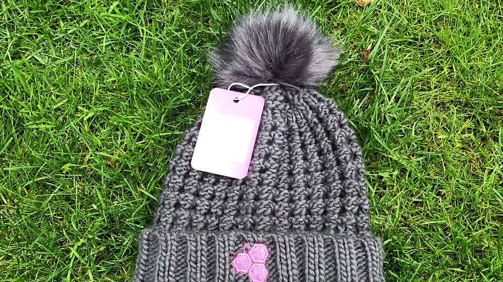Rocks Fur Pom - Graphite / Pink