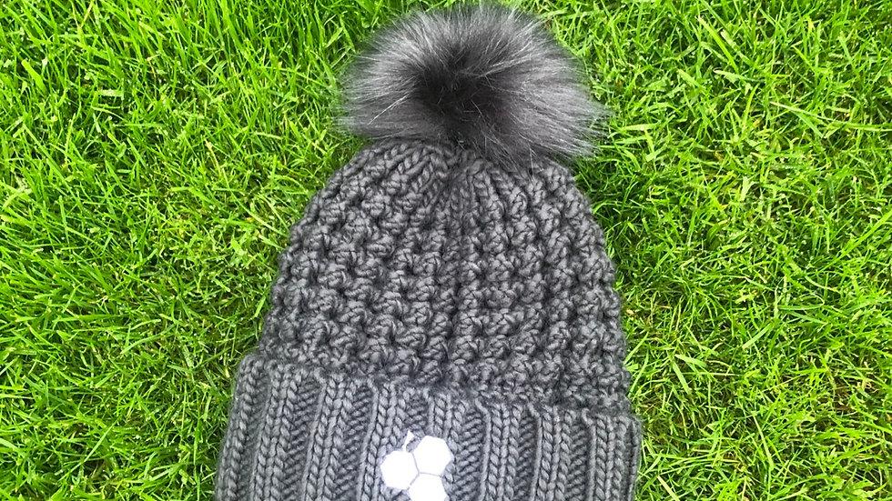 Rocks Fur Pom Pom Hat - Graphite