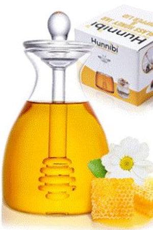 Handmade Glass Honey Jar with Dipper by Hunnibi