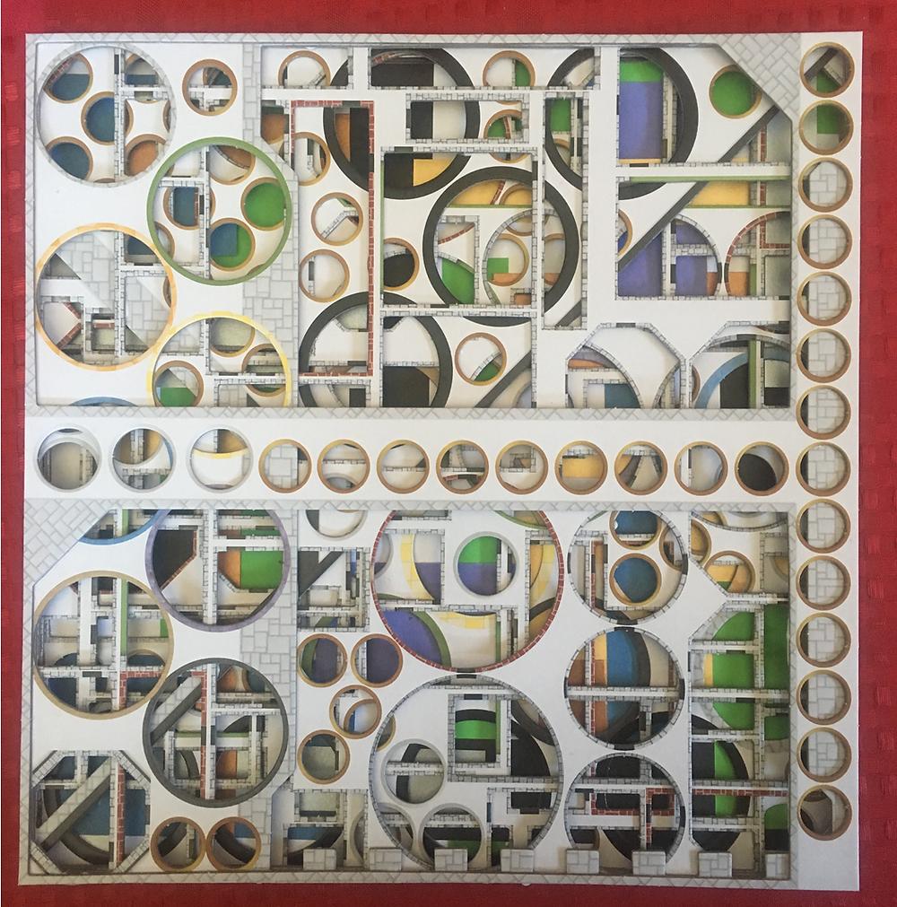 Art Deco image of outside die cut tokens (full bleed areas)