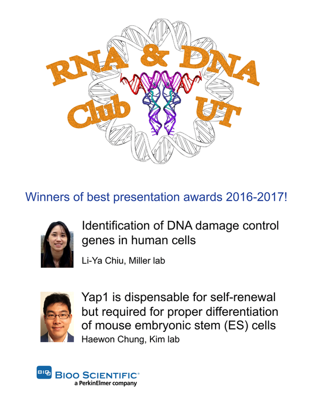 HaeWon wins annual Best Presentation Award (2nd prize), RNA & DNA Club