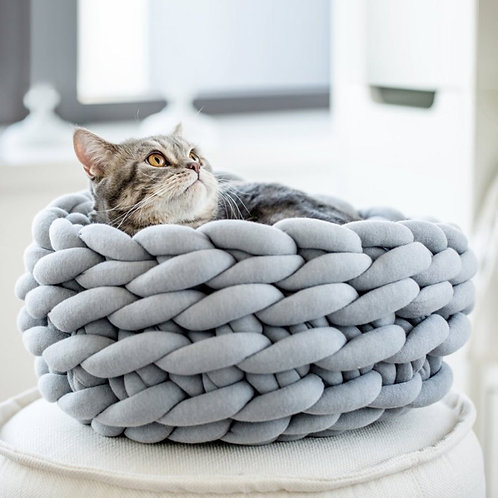 30/35/40cm DIY Hand-Woven Coarse Wool Pet Nest Cat Bed