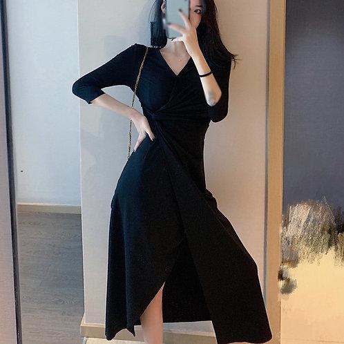 2021 Summer Black Women Elegant v Neck Half Sleeve Slit