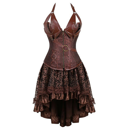 15 Steampunk Bustier Corset Dress Plus Size Black Brown Zipper