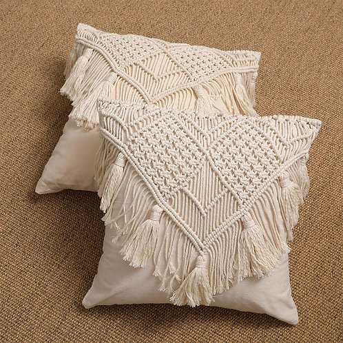 Boho Pillow Case Cotton Embroidered Throw Pillow