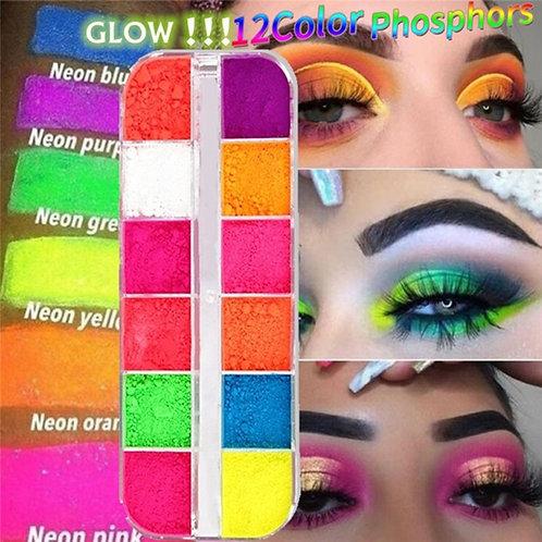 12 Colors/Box Fluorescent Neon Pigment Eye Shadow