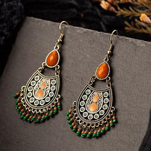 Bohemian Boho Acrylic Beads Tassel Earrings