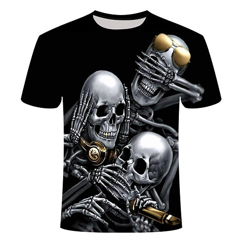 Black T Shirt 3D Skull King Summer