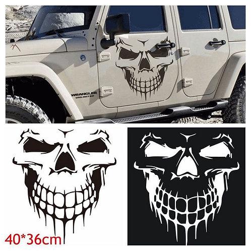 1PCS Size 40x36CM Skull Head Car Sticker Reflective Vinyl