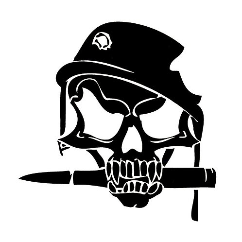 14.8cm*15cm Army Skull Bullet in Military Helmet