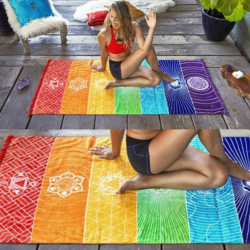 1Pcs Tassels Single Rainbow Chakra Tapestry Towel