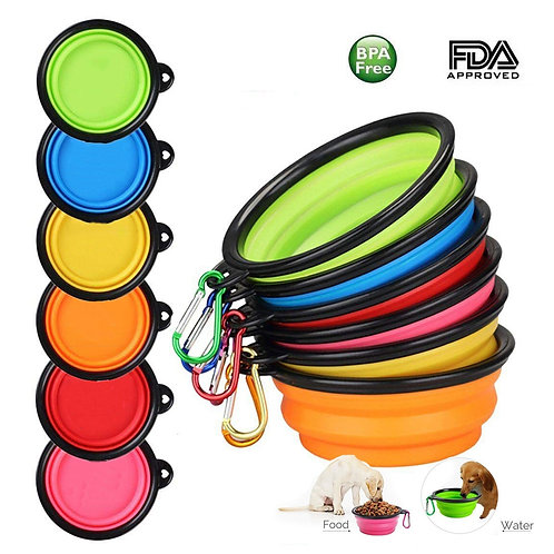 1PC Folding Silicone Dog Bowl Outfit Portable Travel Bowl
