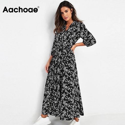 Aachoae Vintage Floral Print Maxi Dress Women Boho