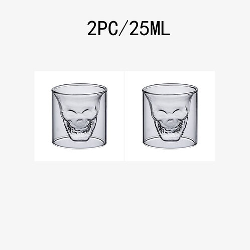 2-16pcs Skull Cup 25ML Double Transparent Glass Beer