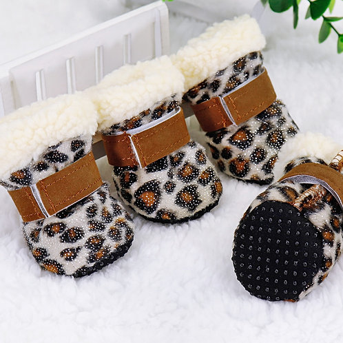 4pcs Winter Dog Pet Shoes Anti-Slip Snow Boots