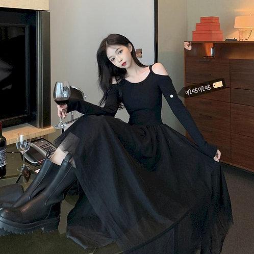 2021 Summer Sexy Black Long Dress Women Clothing Goth