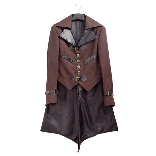 Men Vintage Jacket Adult Male Aviator Swallow-Tailed Steampunk