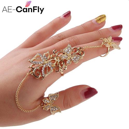 AE-CANFLY Rhinestone Flower Butterfly Full Finger Rings