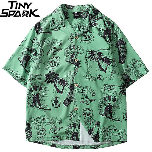 2020 Hip Hop Shirt Streetwear Men Hawaiian Shirts
