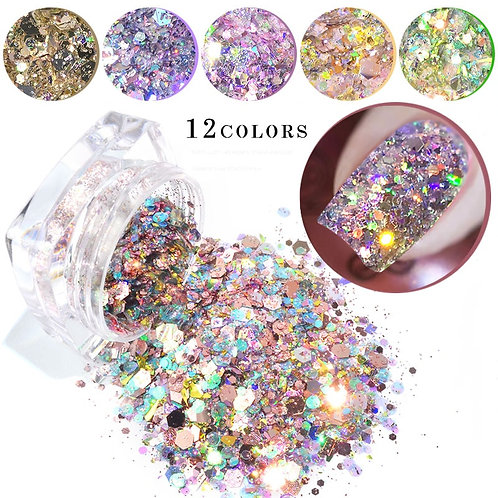 12colors Sparkly Glitter Sequins Mixed for Eye Makeup Face