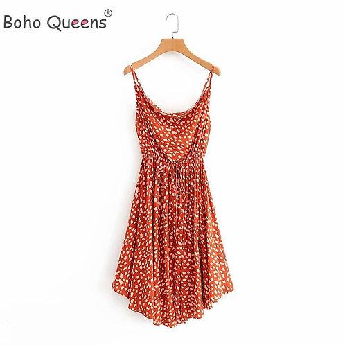 Boho Queens Women Strapless Leopard Print Midi Dress