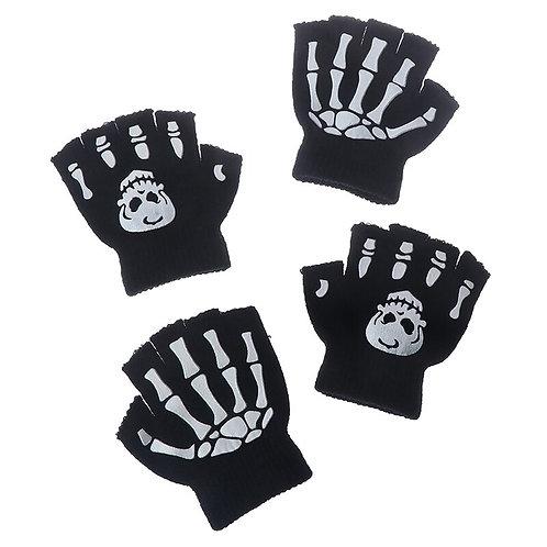 Boys Cool Fluorescent Skeleton Gloves Children Mittens Skull