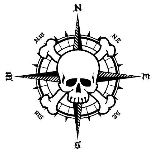 15.4cm*15.5cm NSWE Bardian Pirate Compass Skull