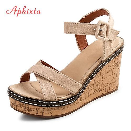 Aphixta Women Wedge Sandals Peep Toe Buckle Shoes