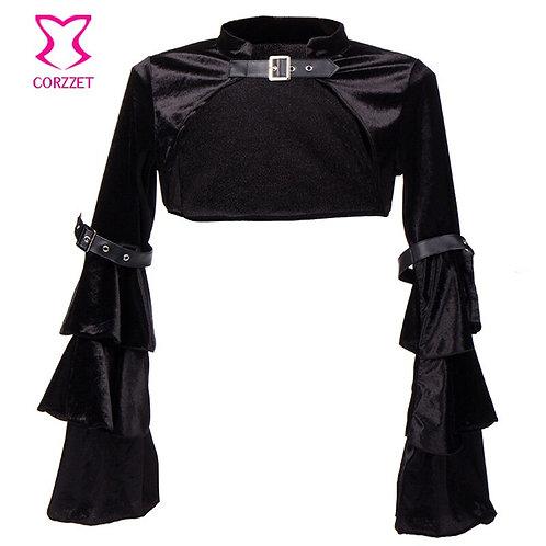 Black Velvet Butterfly Sleeve Buckle Belt Gothic Bolero