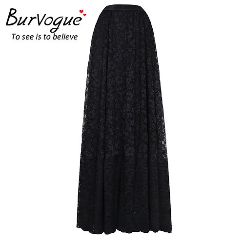 Burvogue New Arrival Women Lace Steampunk Skirts Elastic