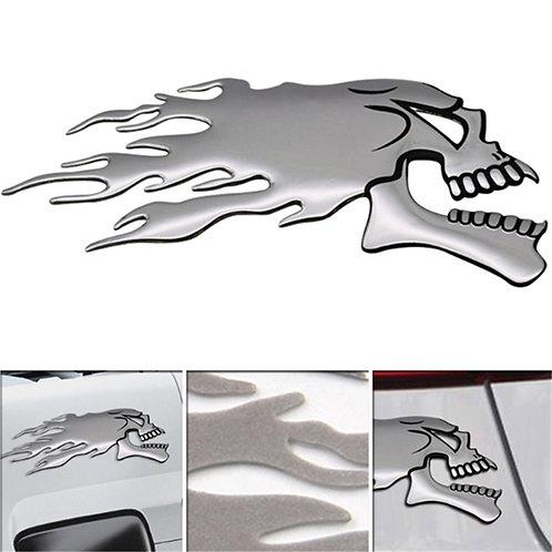3D Silver Chrome Ghost Skull Head Auto Motorcycle Car