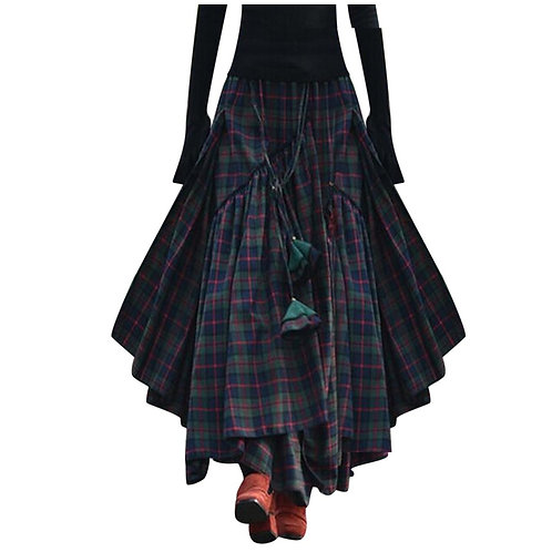 Boho Summer Fashion Women Casual Skirt Loose Plaid