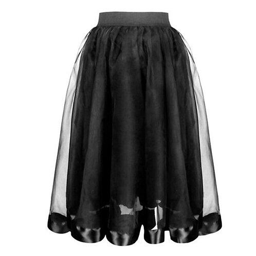 2 Layer Black Satin & Organza Ball Gown Gothic Lolita Skirt