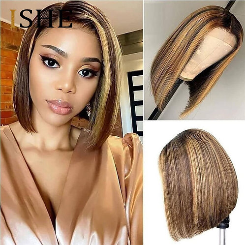 13x6 Highlight Wig Ombre Brown Honey Blonde Short Bob Wig