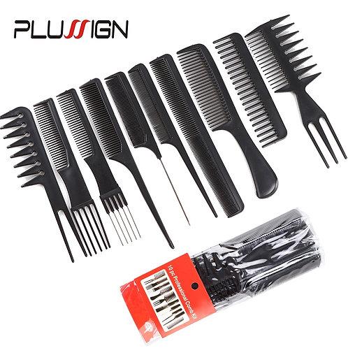 10Pcs Hair Comb Hairdresser Brush Black Plastic