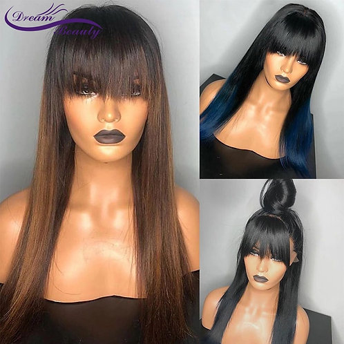 Blue  Frontal Ombre 13x4 Lace Frontal/Closure Human Wigs With Bangs  Remy Wigs
