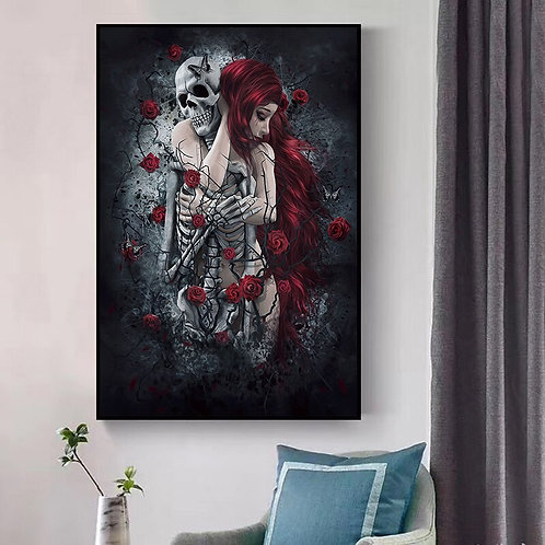 Abstract Skull Girl Canvas Art Posters and Prints