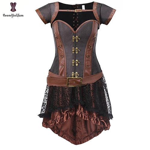 Brown Women's Clothing Steampunk Costume Corset Dress