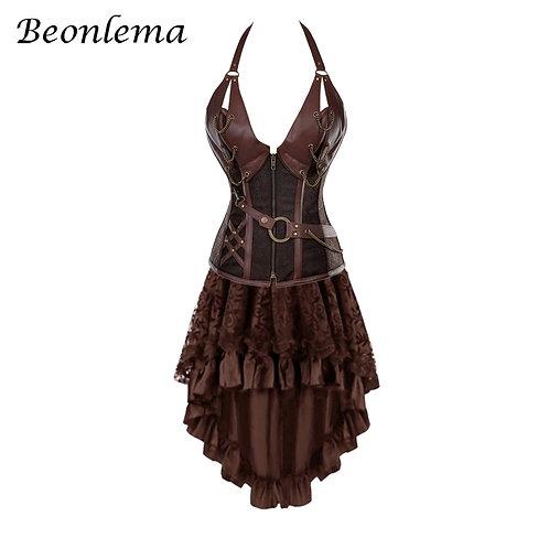 Beonlema Women Corset Dress Faux Leather Corset