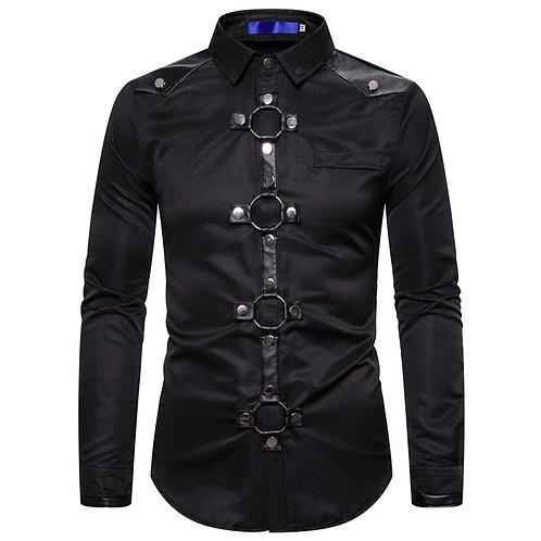 Men Vintage Long Sleeve Slim Fit Shirt Steampunk
