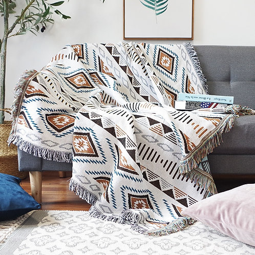 Bohemian Knitted Chair Lounge Blanket Bed Plaid Tapestry