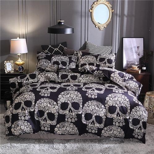 Bonenjoy Black Color Duvet Cover Queen Size Luxury Sugar Skull Bedding