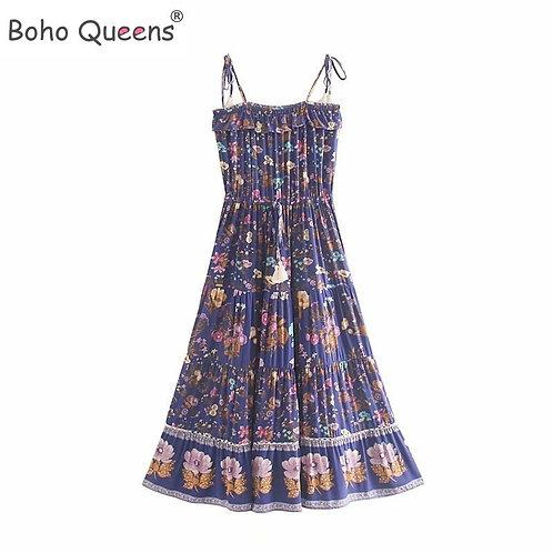 Boho  Summer Vintage Floral Print Tassel Maxi Strap Dress