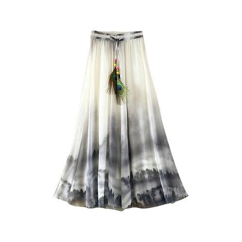 Boho Womens Skirts Chiffon Flower Print Feather Drawstring axi Long Skirt