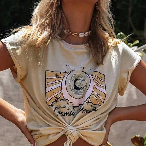 Boho Inspired Women's Beige Tee Short Sleeve