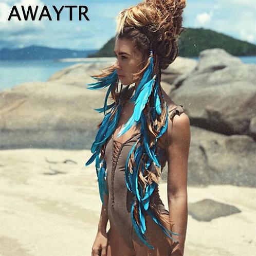 AWAYTR Fashion Boho Style Feather Headband Hairpiece