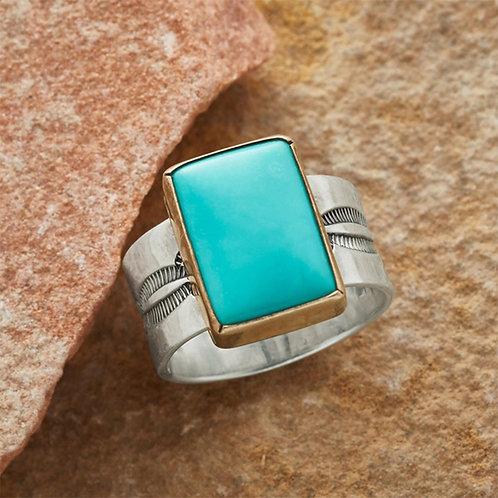 Boho Ethnic Geometric Turquoises Stone Rings