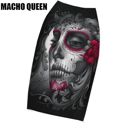 Black Gothic Rock Punk Print Pencil Skirt